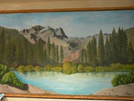 Crown Point Mural of lake and mountains with pine trees