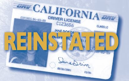 California license with text reinstated on top of it