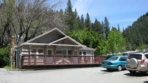One story Downieville building with small parking lot