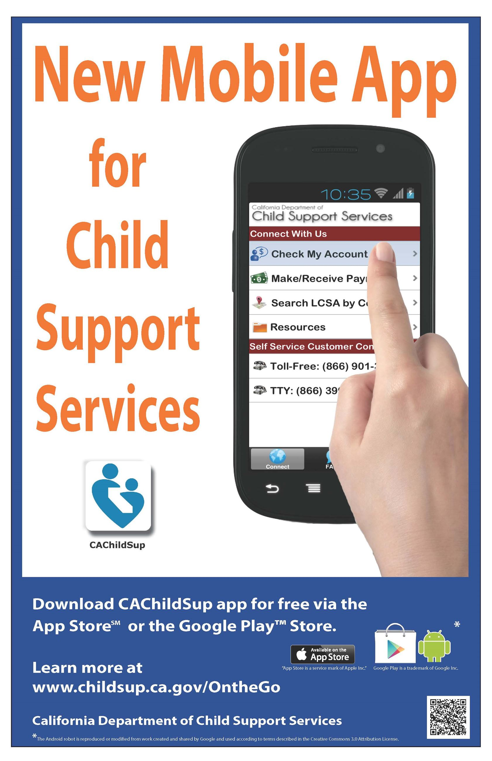New mobile app for child support services image of hand using cell phone