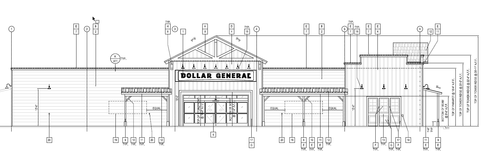 Rough and Ready Dollar General Elevation Drawing