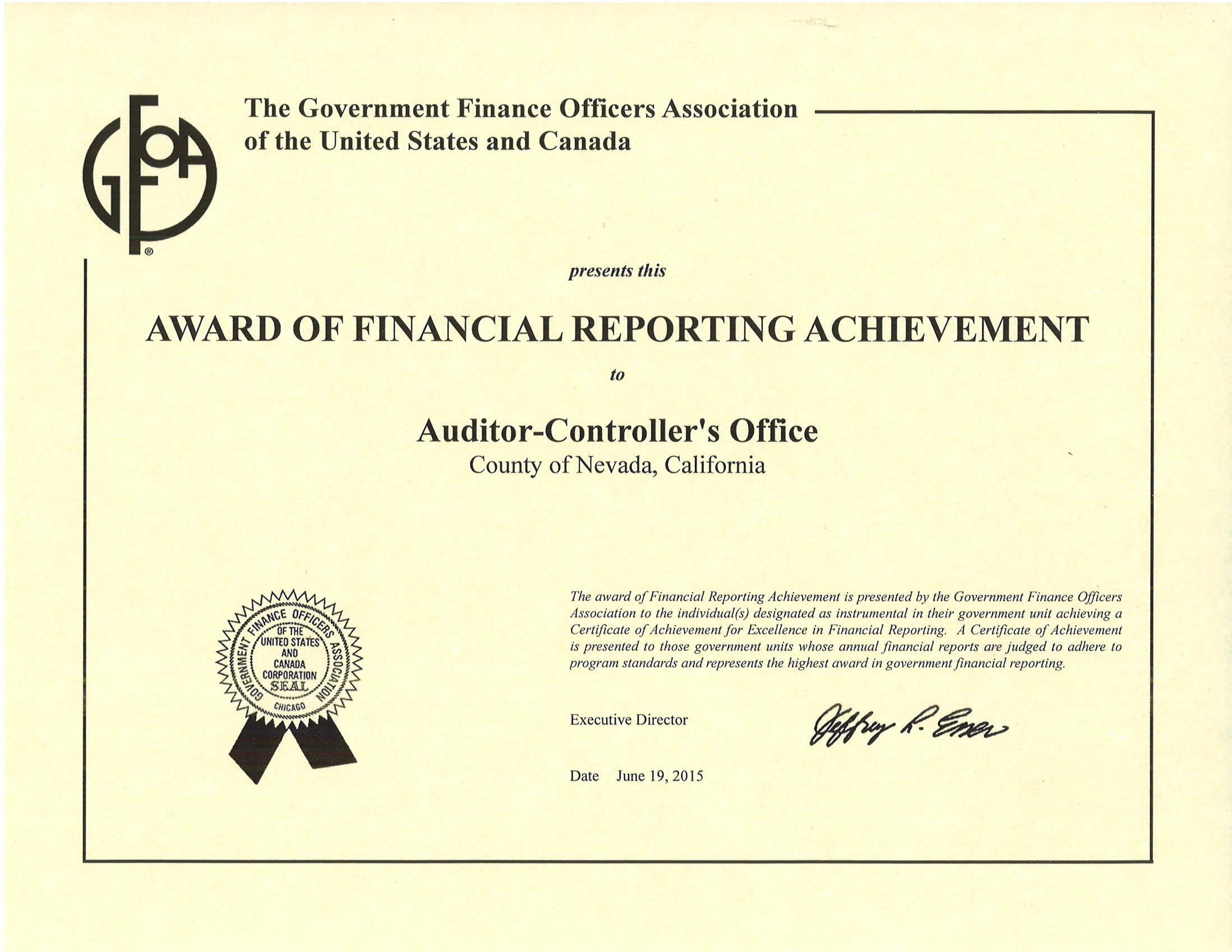 Award of Financial Reporting Achievement Certificate