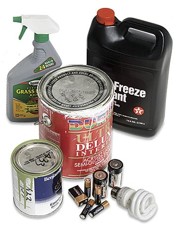 Hazardous waste includes: antifreeze, batteries. paint, and household cleaners