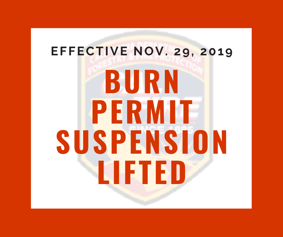 Burn Permit Suspension Lifted