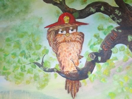 Mural owl with fire hat