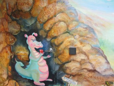 Mural dragon and cave