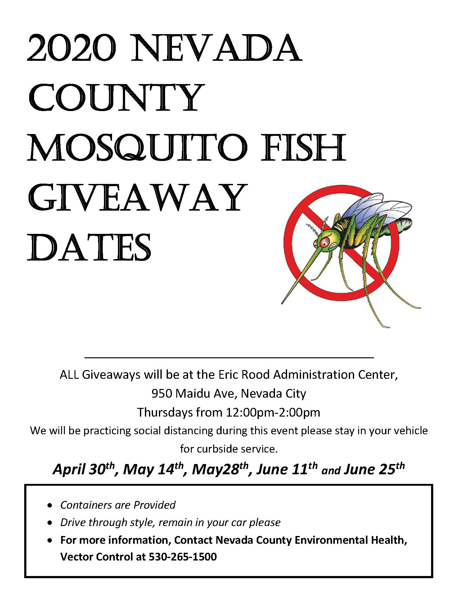 2020 mosquito fish giveaway flyer